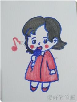 爱唱歌的女孩简笔画画法教程