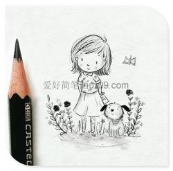 清新的可爱女孩简笔画