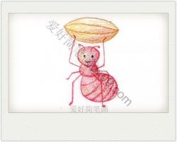 卡通简笔画蚂蚁彩色