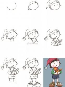 画小女孩简单又可爱涂色