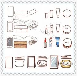 女生常用的各种小物件简笔画教程