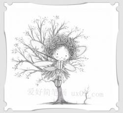 小精灵女孩创意简笔画