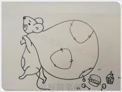 卡通小老鼠偷东西简笔画画法