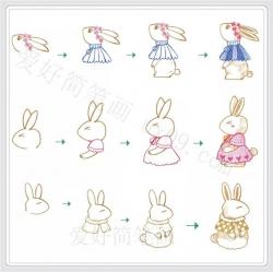 可爱兔子彩色简笔画步骤图片