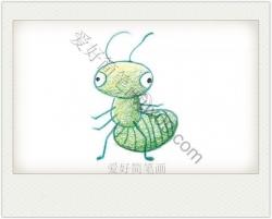 绿色呆萌好奇的小蚂蚁